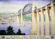 Royal Albert Bridge, Saltash, Cornwall. Vintage GWR Travel Poster by Anton Abraham van Anrooy